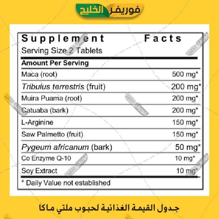 القيمة الغذائية لحبوب مالتي ماكا