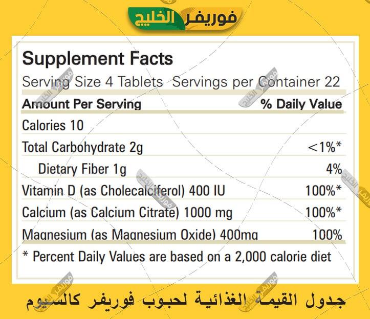 جدول القيمة الغذائية لحبوب فوريفر كالسيوم