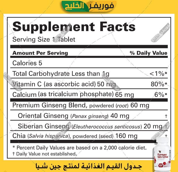 جدول القيمة الغذائية فوريفر جين شيا