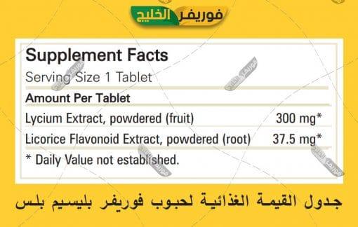 جدول القيمة الغذائية لفوريفر بليسيم بلس
